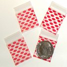 "200 Red Lips Baggies 3434 zip lock 0.75 x 0.75"" Apple Brand"
