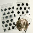 100 Black Cross Apple Baggies 1.25 x 1.25 in.  zip lock bags B2G1 Free