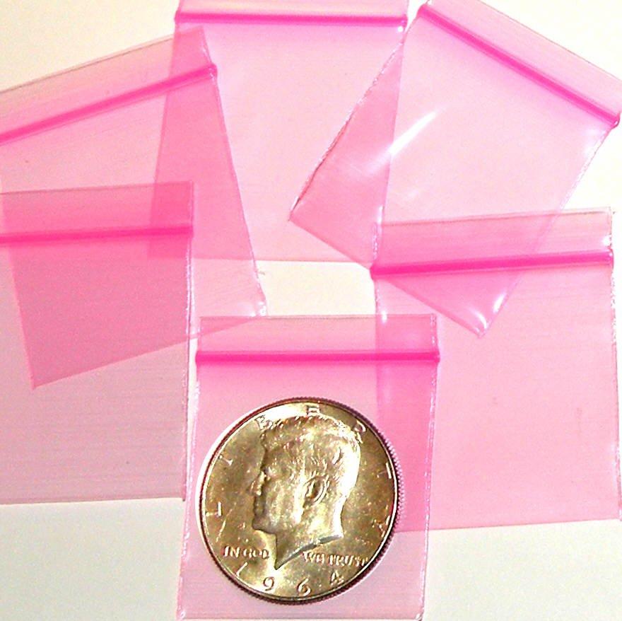 "1000 Neon Pink Baggies 1.5 x 1.5"" Small Ziplock Bags 1515"