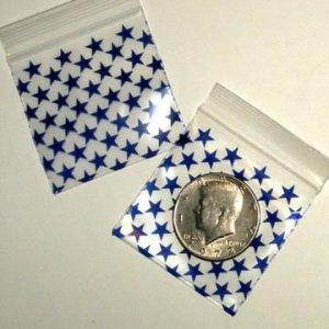 """200 Blue Stars 2 x 2"""" Small Ziplock Bags 2020"""