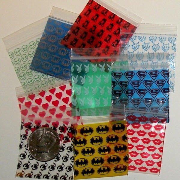 "1000 Mixed Designs  2 x 2"" Small Ziplock Bags"