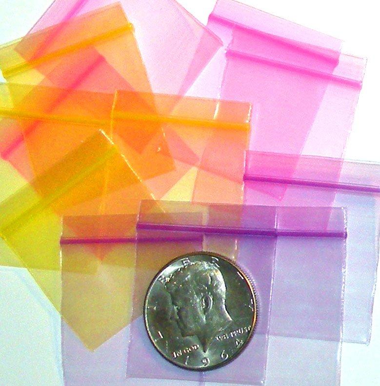 "300 Purple Pink Yellow Apple Baggies 1.5 x 1.5"" Mini Zip Bags 1515"