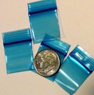 "1000 Blue Baggies 3434 ziplock 0.75 x 0.75"" Apple Brand"