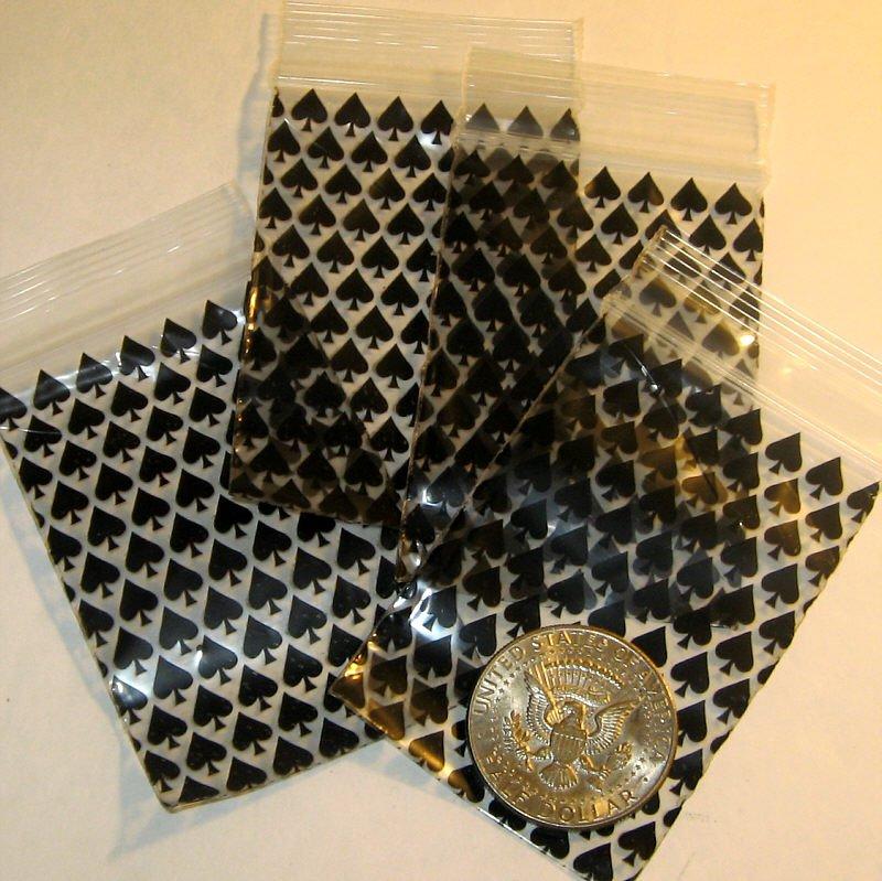 """200 Spades 2 x 3"""" mini zip lock bags 2030"""