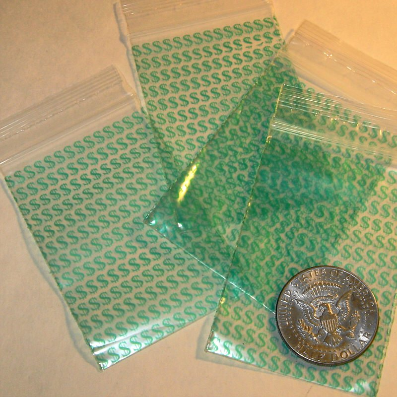 "200 Dollar Signs 2 x 3"" mini zip lock bags 2030"