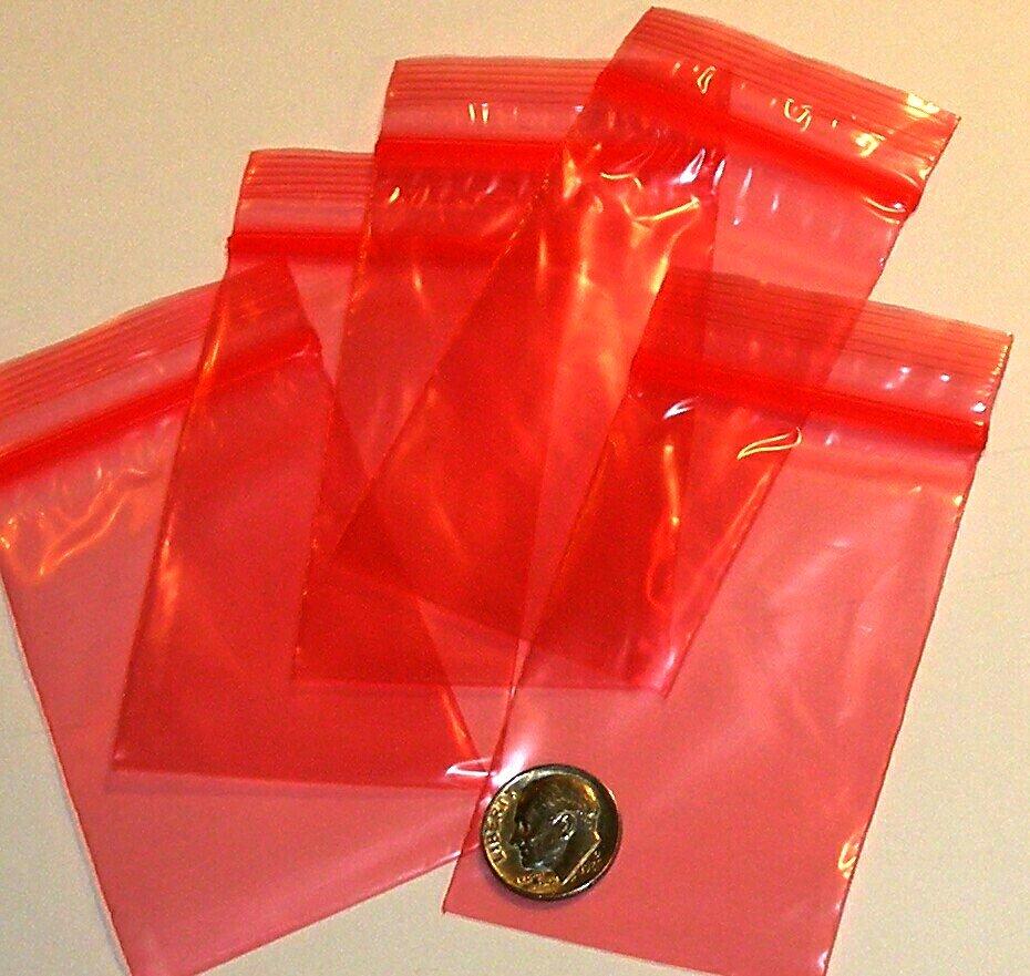 """100 Red baggies 2 x 3"""" mini zip lock bags 2030"""