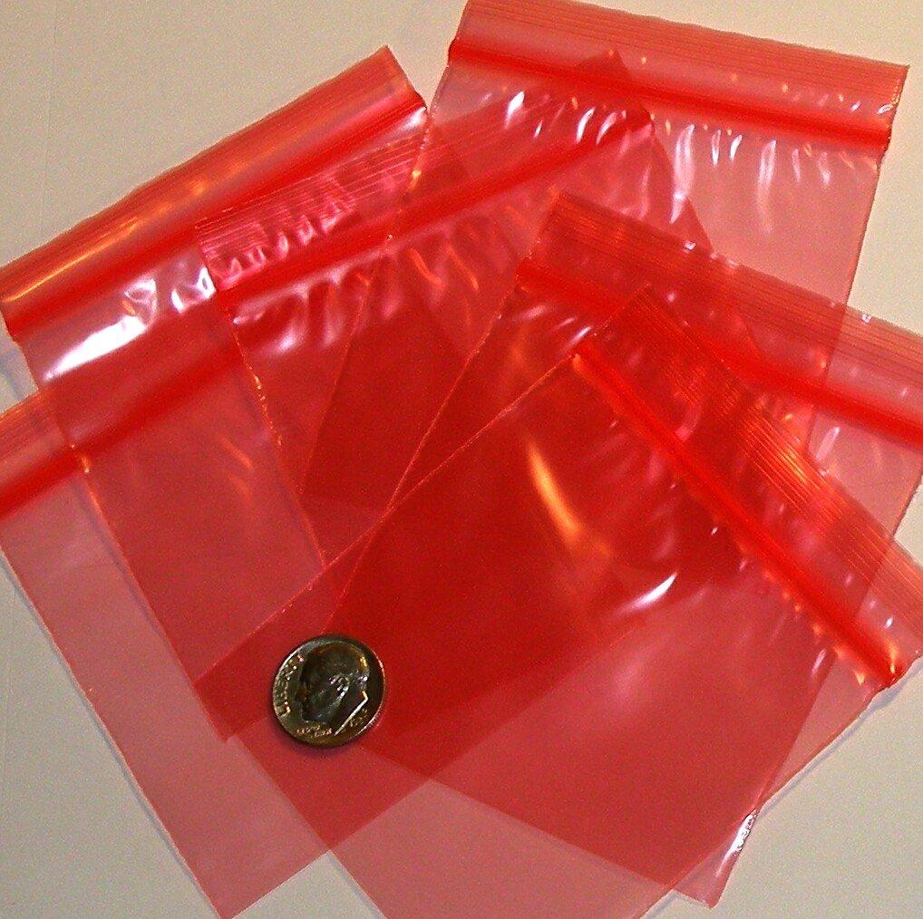 """200 Red baggies 3 x 3"""" mini zip lock bags 3030"""