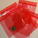 "200 Red baggies 3 x 3"" mini zip lock bags 3030"