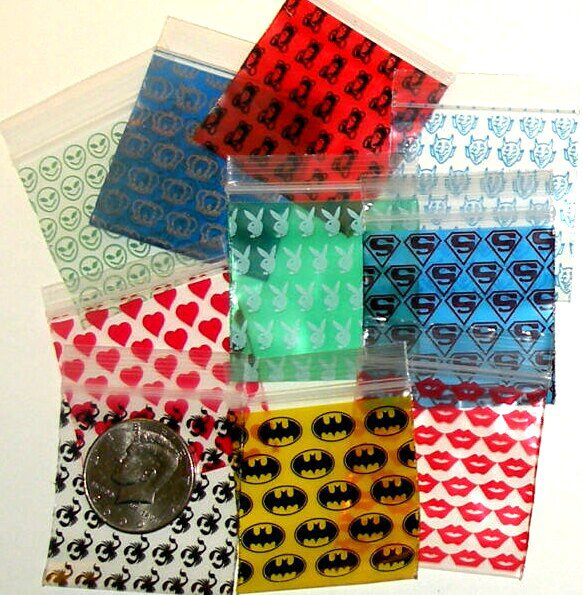 "100 Apple Baggies 2 x 2"" Ten designs -B2G1 Free-"