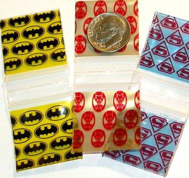 300 Superhero Trio Baggies  1 x 1 in. Spider- Bat- Superman