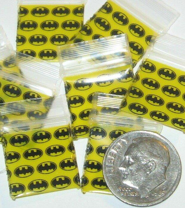 "1000 Batman Baggies 5858 ziplock bags 5/8 x 5/8"""