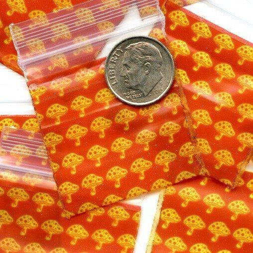 """100 Apple baggies Mushrooms 1.5 x 15"""" Mini Zip lock Bags 1515"""