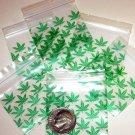 "100 Green Leaves Apple Baggies 1.5 x 1.5""  Minizip Bags 1515"