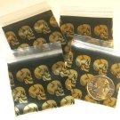 """100 Golden Skulls Apple Baggies 1.5 x 1.5"""" Small Zip Bags 1515"""