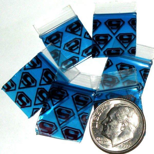 "100 Superman Apple Baggies 5858 zip lock bags 5/8 x 5/8"""