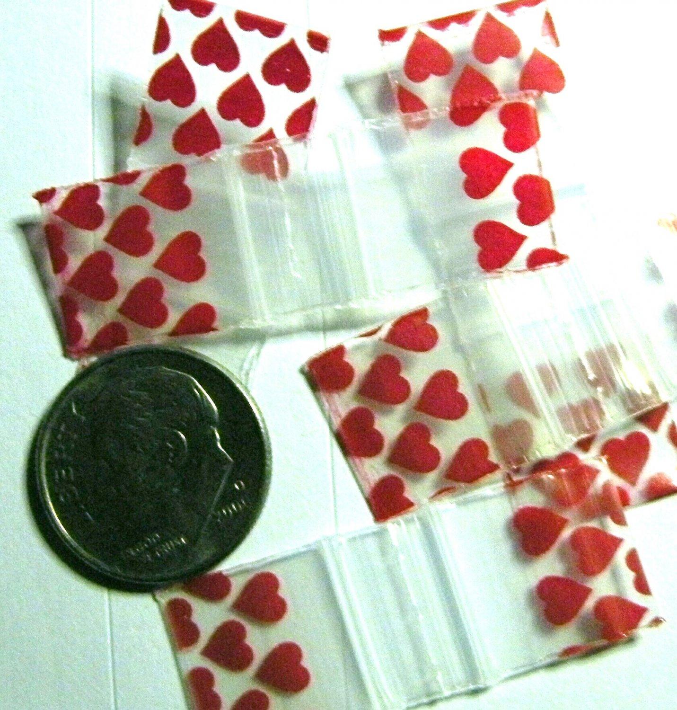 "100 Red Hearts Apple Baggies 0.5 x 0.5"" Tiny Zip Bags 1/2 x 1/2 inch"