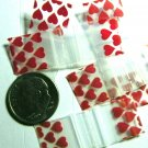 "100 Red Hearts Apple Baggies 0.5 x 0.5"" Tiny Zip Bags 1/2 x 1/2 inch"