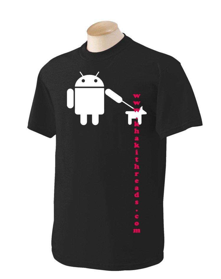 Android walks dog Geek T-Shirt