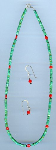 Turquoise and Red Coral Necklace and Earrings