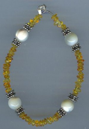 Mother of Pearl and Amber Bracelet