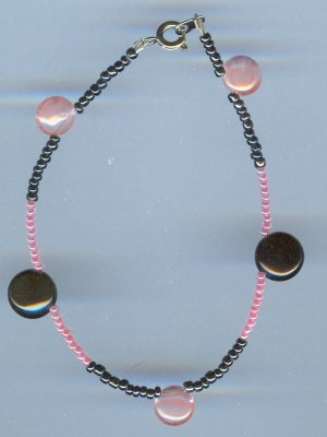 Black Onyx and Rose Quartz Bracelet
