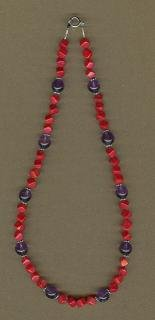 Red Coral and Amethyst Necklace