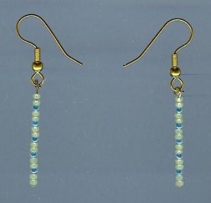 Yellow and Blue Beaded Earrings