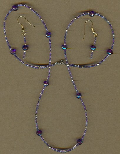 Purple Beaded Necklace and Earring Set