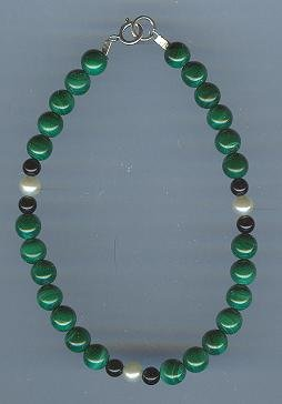 Malachite, Black Onyx and Fresh Water Pearl Bracelet
