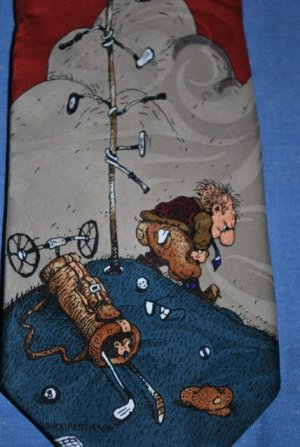 Gary Patterson Novelty Golf Tie by Hot Cakes EUC