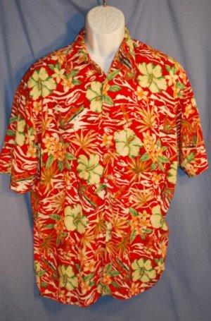 Pierre Cardin RED Hawaiian Beach Shirt Size MED EUC0