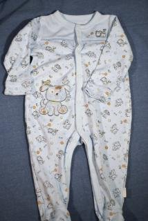 First Moments Footed Sleeper Blue Puppy 6-9M EUC