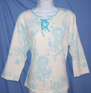 St. Johns Bay Blue TOILE Womens 3/4 Sleeve Top Size XL