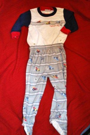 CARTERS Racecar Race Car Print Pajamas PJs Size 12M EUC