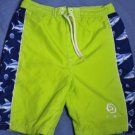 Ocean Pacific OP Green/Blue Shark Swim Trunk Suit Sz 7