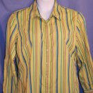 White Stag Green Multi Striped Button Front Top Size XL