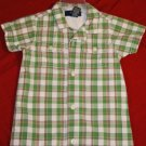 OSHKOSH Green Plaid Shortall Romper Size 12M EUC