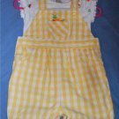 GYMBOREE Yellow Gingham Fruity Shortall Romper 6-12M