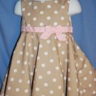 POLLY & FRIENDS Brown & Pink Dressy Dress Size 24M EUC