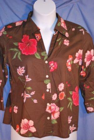 TOMMY HILFIGER Brown Pink Hawaiian top Shirt 14 EUC
