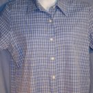 OLD NAVY Clothing Co. Ladies Blue Plaid Top Shirt L EUC