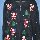UGLY TACKY CHRISTMAS Santa Beaded Cardigan Sweater Size Medium