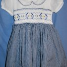 Handmade SMOCKED Dress White Navy Gingham Yellow Navy Smocking Size 6/9M EUC