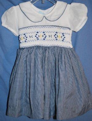 Handmade SMOCKED Dress White Navy Gingham Yellow Navy Smocking Size 6/9M EUC