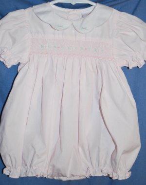 Boutique PETIT AMI SMOCKED ROMPER Bubble Outfit BABY PINK Size 9 months EUC LNC