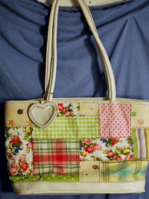 BUENO Pink & Green Plaid Handbag 16 x 10 GUC