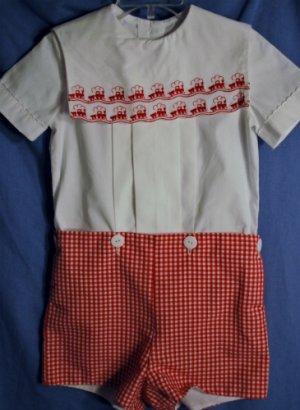 Boutique - Michael James Short Set Embroidered TRAINS White Red Boys Size 3T EUC