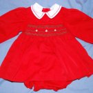 SAMARA Boutique SMOCKED Red & White Holiday Christmas Dress Bloomers Size 24M