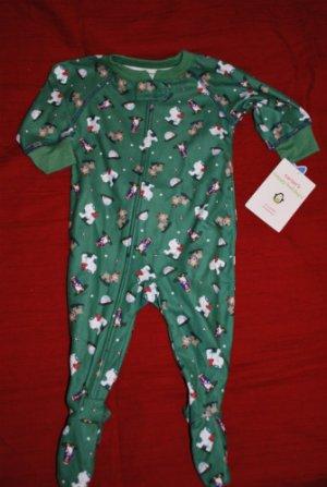 NEW CARTER'S Holiday Christmas Winter Fuzz Free Fleece Pajamas PJs Size 6M NWT