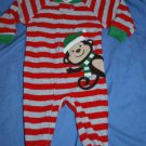 CARTER'S Holiday MONKEY Red Gray Winter Pajamas PJs Size 12M EUC